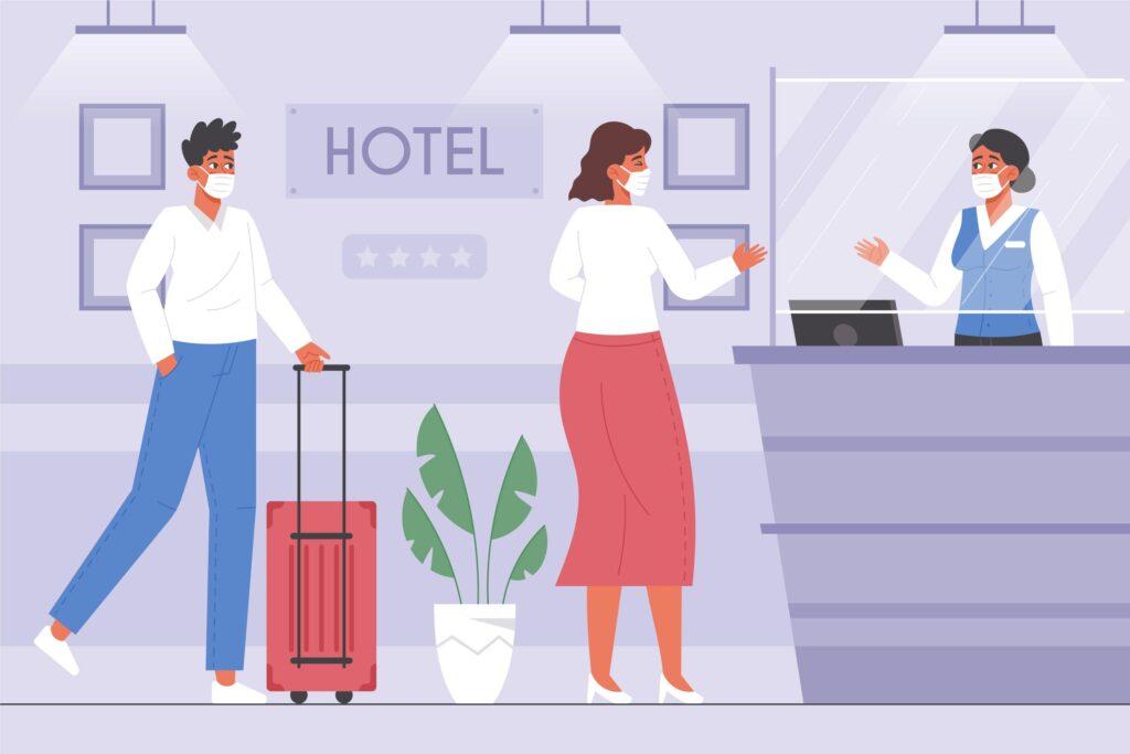 Ilustración de hotel, recepcionista con dos clientes con mascarillas.